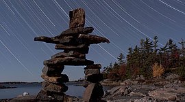 Inukshuk star trails, Sans Souci, Georgian Bay. Photo by Sean Tamblyn.