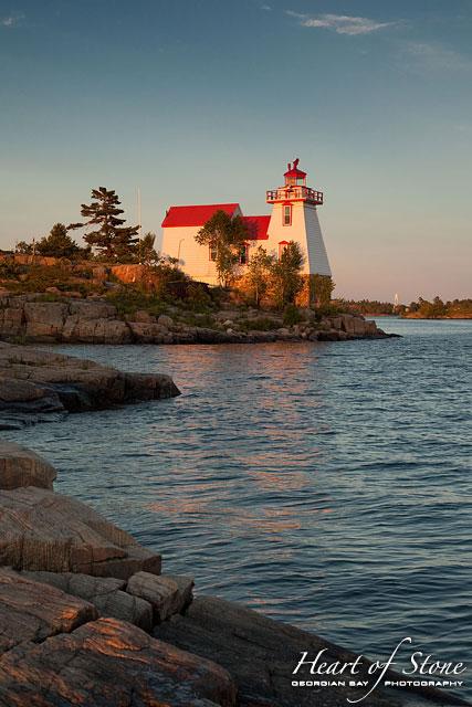 Lighthouse at sunset, Pointe au Baril, Georgian Bay