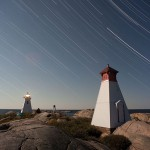 Star trails over lighthouse and ranges, Bustard Islands, Georgian Bay