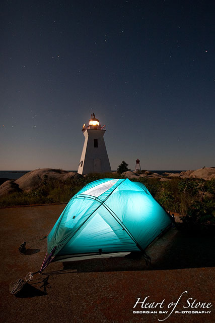 Camping by the lighthouse, Bustard Islands, Georgian Bay
