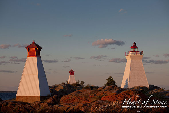 Sunset on lighthouse and ranges, Bustard Islands, Georgian Bay