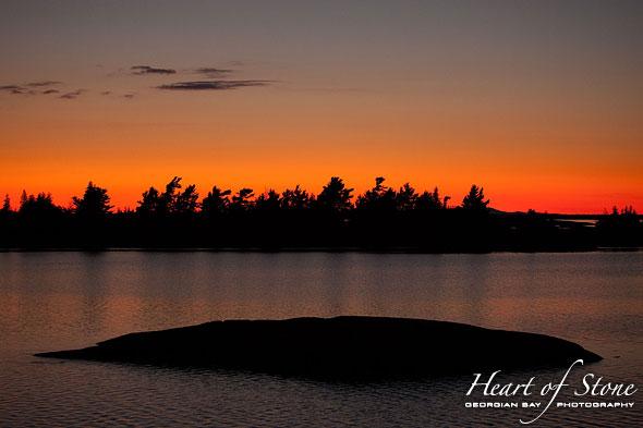 Sunset silhouettes, Bustard Islands, Georgian Bay
