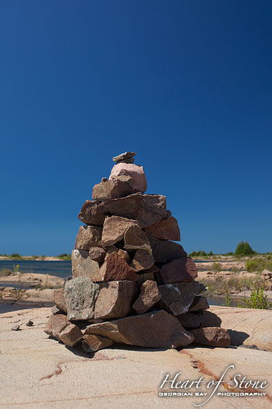 Stone cairn, Bottle Island, Georgian Bay