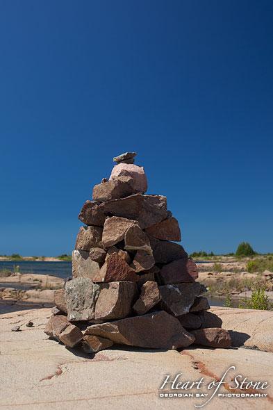 Stone cairn, Bottle Island, Georgian Bay