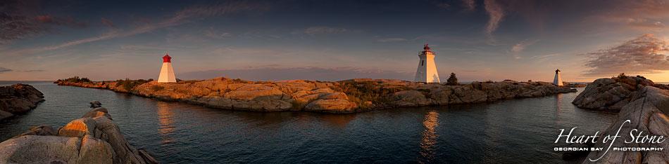 Sunset on Bustard Island light and ranges panorama, Bustard Islands, Georgian Bay