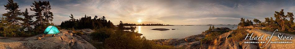 Room with a View sunset panorama, Bustard Islands, Georgian Bay