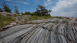 Striated granite, Snake Islands, Georgian Bay