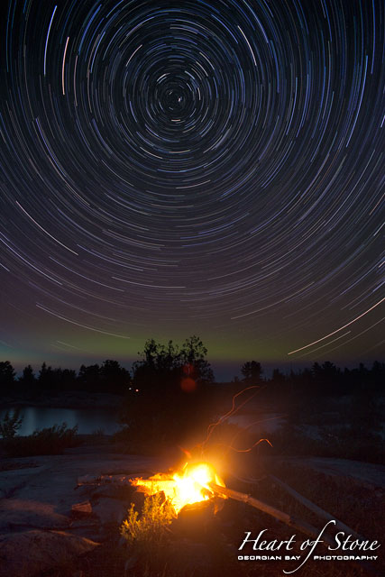 Star trails over campfire, Chicken Liver Channel, Georgian Bay