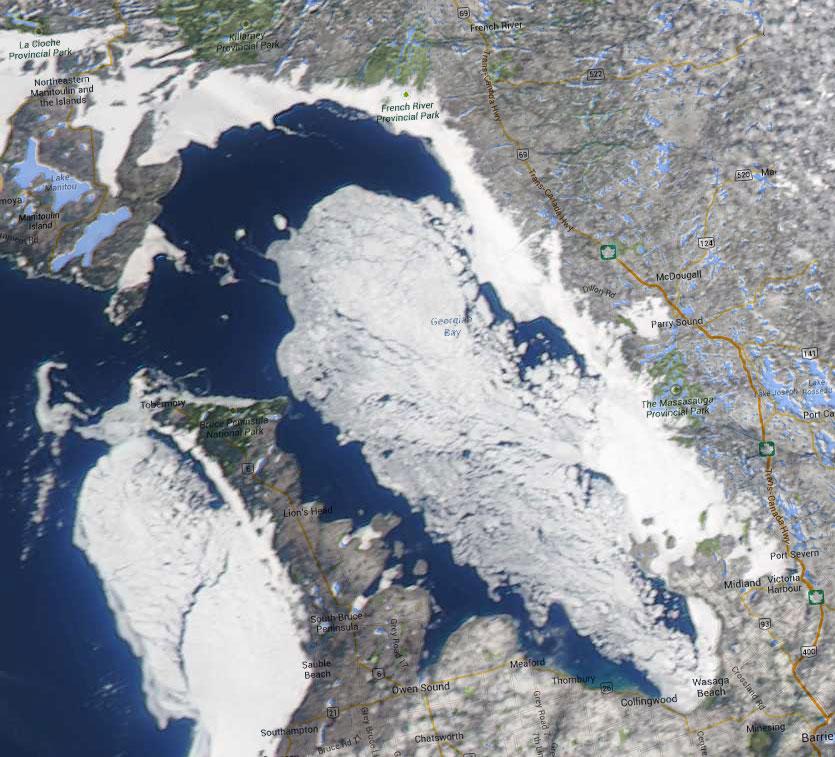 Georgian Bay Ice Watch, April 16 2014, NOAA MODIS 250m