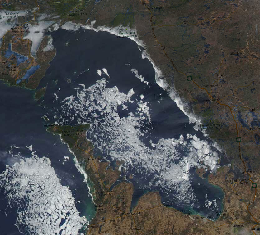 Georgian Bay Ice Watch, April 28 2014, NOAA MODIS 250m