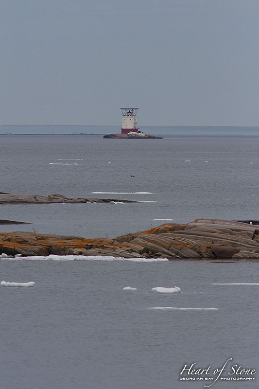 Red Rock lighthouse and last ice of 2014, Snake Islands, Georgian Bay