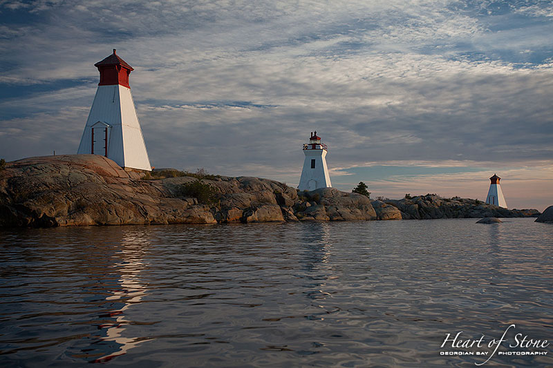 Bustard Rock lighthouse and twin ranges, Bustard Islands, Georgian Bay