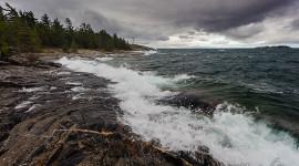 November storm waves, Wreck Island, Georgian Bay