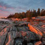 Sunset over granite patterns, Franklin Island, Georgian Bay