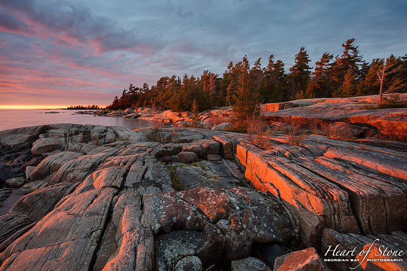 Sunset over granite patterns, Franklin Island, Georgian Bay