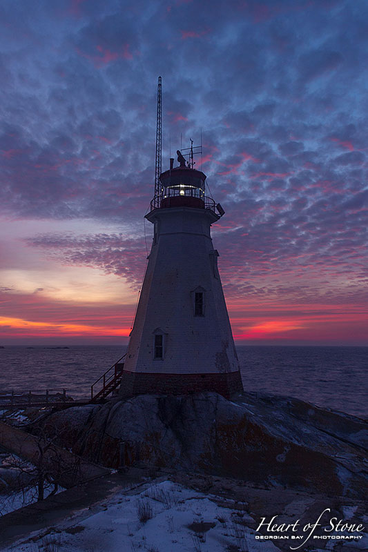 Sunrise over Doubletop island lighthouse, Western Islands, Georgian Bay