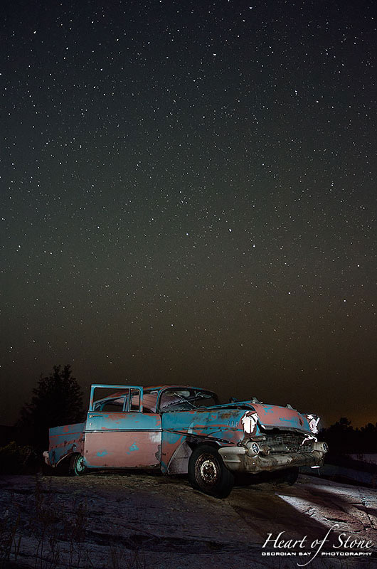 August stars over abandoned 1957 Chevy, Bourchier Islands, Georgian Bay
