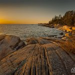 Sunset over patterned granite, Franklin Island, Georgian Bay