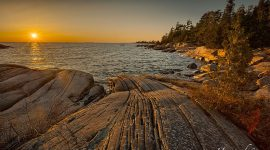 Sunset over patterned granite, Franklin Island, Georgian Bay
