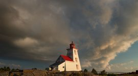 Storm clouds over lighthouse, Gereaux Island, Byng Inlet, Georgian Bay