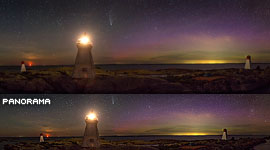 Comet Neowise over Bustard Rocks panorama, Bustard Islands, Georgian Bay