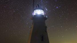 Stars over lighthouse, Doubletop Island, Western Islands, Georgian Bay