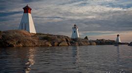Bustard Rock lighthouse and twin ranges, Bustard Islands, Georgian Bay