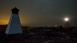 Perseids over lighthouse and twin ranges, Bustard Rocks, Bustard Islands, Georgian Bay