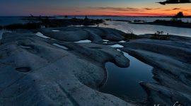 Twilight over granite pools, Shirt Tails, Bustard Islands, French River, Georgian Bay