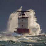 Rogue wave over Red Rock lighthouse, Parry Sound, Mink Islands, Georgian Bay
