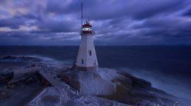 Moonlight over Doubletop Island lighthouse in winter, Western Islands, Georgian Bay