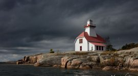 Stormclouds over lighthouse, Snug Harbour, Parry Sound, Georgian Bay